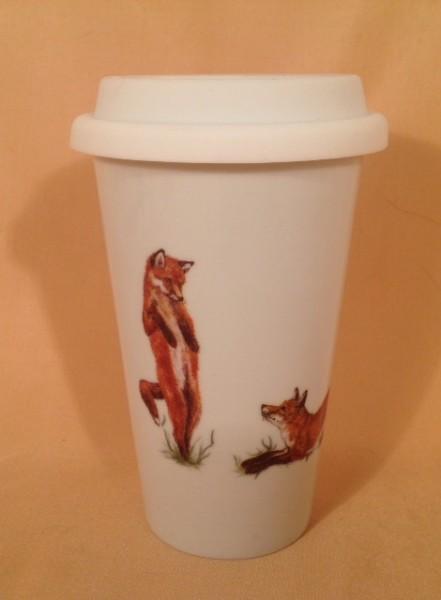 """Coffee-to-go-Becher """"Spielende Füchse"""""""