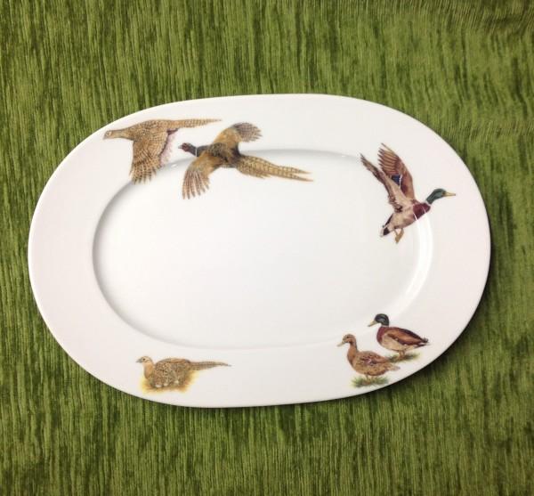 "Teller, oval ""Flugwild"", 35x23,5 cm"