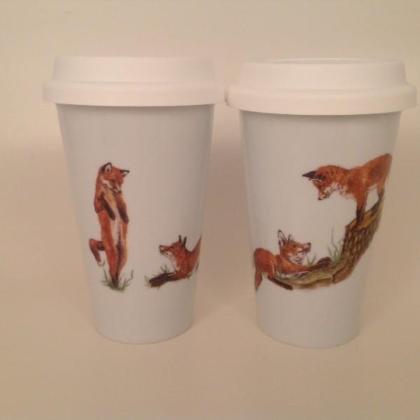 """Coffee-to-go-Becherset 2-teilig """"Spielende Füchse"""""""