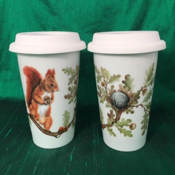 """Coffee-to-go-Becher """"Eichhörnchen mit dem Golfball"""""""""""