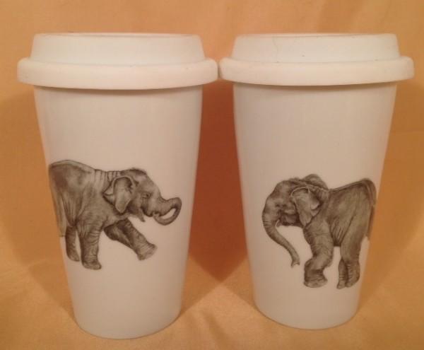 """Coffee-to-go-Becherset """"Spielende Elefantenkinder"""""""