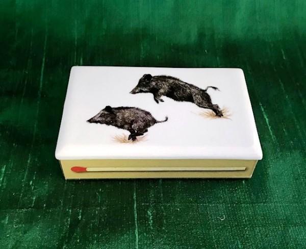 """Streichholzschachtel """"Wildschweine"""", 7x10,5 cm"""